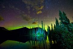 Happy Friday the 13th (John Andersen (JPAndersen images)) Tags: alberta august aurora clouds forgetmenotpond kananaskis milkyway morning reflections sky