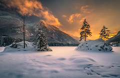 Winter evening (gregor158) Tags: hintersee germany sunset clouds mountains trees snow winter frozen landscape lake nature