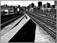 Harlem Line NYC (Professor Bop) Tags: canonpowershots3is blackandwhite bw monochrome monochromatic railroad metronorthline harlem nyc newyorkcity urban tracks railroadtracks rails professorbop drjazz
