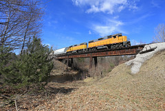 Cleaned away (GLC 392) Tags: mqt marquette rail railroad railway train emd gp382 manistee meteor crew big sable river free soil mi michigan blue sky clouds 2044 2042 tree