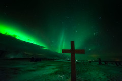 Rising (ernogy) Tags: iceland graveyard cross aurora astrophotography stars green glow night ernogy landscape