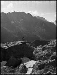 Alps (Michael Kommarov) Tags: fuji gs645 6x45 film medium format analog expired vertical bellows lomography ilford xp2 black white grain contrast