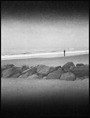 a day at the beach (Michael Kommarov) Tags: fuji gs645 6x45 film medium format analog expired vertical bellows lomography ilford xp2 black white grain contrast