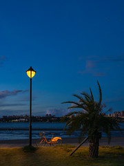 Bicycle by the lamp post (h329) Tags: bali sunset bicycle taiwan lamppost 台灣 omd 八里 em5 m34 新北市 newtaipeicity mzuiko12100mm balileftbankpark 八里左岸 自行車 街燈