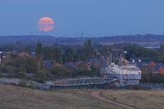 Harvest Full Moon & Oddball (Yorkshire Pics) Tags: 1309 13092019 13thseptember 13thseptember2019 staidans staidansnaturepark staidanscountrypark staidansnaturereserve rspbstaidans oddball oddballdragline walkingdragline dragline staidansdragline fullmoon moon harvestmoon