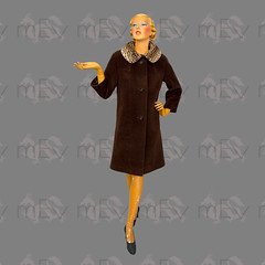 1950s 1960s Brown Coat with Leopard Collar (Rickenbackerglory.) Tags:
