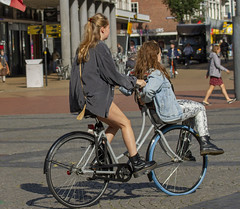 two (Henk Overbeeke Atelier54) Tags: girl street candid longhair nylons bike bicycle bicicletta fiets fahrrad vélo swap drmartens