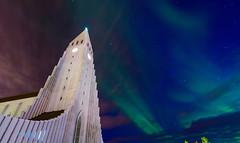 聖堂之光(DSC_0750) (nans0410(busy)) Tags: iceland aurora reykjavik church sky hallgrimskirkja 冰島 極光 雷克雅維克 哈爾格林姆教堂
