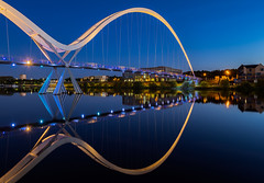 Infinity Bridge (srhphoto) Tags: 2019 bluehour bridges cameras cityscape copyright equipment genre infinitybridge lenses m43 olympusomdem1markii panasonicleicadgvarioelmarit818mm places rivertees rivers stocktonontees timeofday townsandcities year ©simonharrison2019