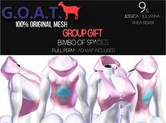 G.O.A.T. 9s JESSICA, RHEA REMIX, JULIANNA BIMBO OF SPADES FULL PERM - GROUP GIFT (Key Stackz) Tags: goat9sjessica rhearemix juliannabimboofspadesfullperm groupgift gift free