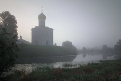 RUS72260 - Foggy Morning #2 (rusTsky) Tags: outside architecture church old morning fog foggy river water sunrise trees nture reflection beauty travel landscape building canon eos5d orthodox history historical russia