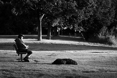 Old Fellas Watching the Sunrise (Anvilcloud) Tags: bw sunrise dog park contemplation quiet bench benchmonday hbm