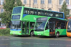Y713 HRN Plaxton President, and YJ16 DWG Optare Versa - The Keighley Bus Company 2713 and 240 (Ray's Photo Collection) Tags: keighley transdev busstation thekeighleybuscompany 2713 y713hrn yj16dwg 240 west yorkshire yorks optare versa plaxton president