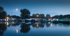 Moonlight Moorings (MixPix ) Tags: water night reflections moonlight barge narrowboat panasoniclumix l15
