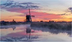 Good morning (Rob Schop) Tags: broekmolen morning mist color pink sunrise windmill zuidholland streefkerk sony70200fe panorama reflection nofilters sonya6000 foggy lrcc