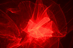 Stimulated Emission (DJ Axis) Tags: red laser wall mur rouge abstract wave form trailing lights lumineuse trainé abstraction curve light beams movement motion