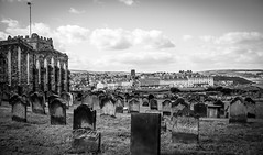 Whitby . (wayman2011) Tags: colinhart fujifilmxe2s lightroom5 wayman2011 bw mono churches religeousbuildings graveyards gravestones townscapes coast northyorkshire whitby uk