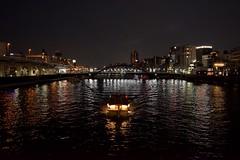 Evening ride (Abhay Parvate) Tags: asakusa sumidariver river 浅草 隅田川 屋形船 boat evening lights city cityscape bridge