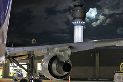 Cleveland Hopkins Tower and Full Harvest moon (GeorgeM757) Tags: sky clevelandhopkins georgem757 boeing aircraft aviation moon clouds 767 nightairplane