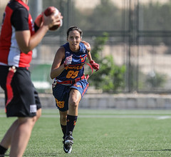 A slang phrase in Hebrew says 'doesn't see by the eyes' and means: totally dedicated (ybiberman) Tags: portrait woman field sport israel spain jerusalem streetphotography documentary running player nike espana flagfootball defense americanfootball europeanchampionship spanishnationalteam flagfootballeuropeanchampionship2019