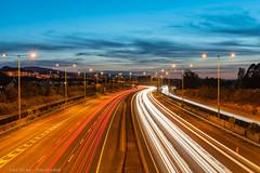 Traffic Light trails - DSC_0698 (John Hickey - fotosbyjohnh) Tags: 2019 dublin september2019 ireland transport travel motorway m50 lights trafficlighttrails carlights sandyford nikon nikond750 flickr colours sky landscape