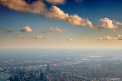 Head in the Clouds (Andy Marfia) Tags: summer sky chicago skyline clouds airplane iso100 flying f8 1640sec 1680mm d7500 plane flight descent landing descending inbound