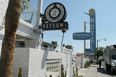 Hatsumi (Flint Foto Factory) Tags: las vegas nevada henderson county urban city late summer september 2019 downtown vacation holiday fremont street hatsumi japanese restaurant 1028 fremontst fergusons motel sign signage food sidewalk delivery atwork