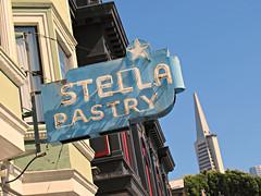 Stella Pastry (kenjet) Tags: sf sanfrancisco sign neon stella pasry shop northbeach pyramid stellapastry transamericatransamerica buildingtransamerica iconic building structure