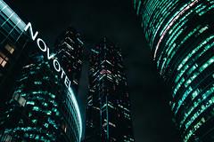 Novotel (vasic.vaskee) Tags: moscow moscowcity moody neon windows light