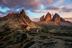 Tre cime di Lavaredo e Monte Paterno (methariorn78) Tags: landscape sunlight sunset sky clouds warmlight warmcolors warmtones italy trentino veneto threepeaksoflavaredo summer outdoor outside nature naturallight shadow contrast details stone geology trekking pink red peaks adventure nikon majestic wonderfulplace