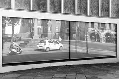 Art Gallery Reflection (EightBitTony) Tags: canon6d window reflection person city nottingham september moped urban car streetphotography blackandwhite vehicle citycentre 2019 uk nottinghamshire bw blackwhite canon canondslr canoneos canoneos6d mono monochrome england unitedkingdom