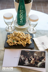 Chocolate drizzled popcorn and welcoming notecard (thewanderingeater) Tags: windsorcourthotel neworleans centralbusinessdistrict louisiana luxuryhotel luxuryboutiquehotel