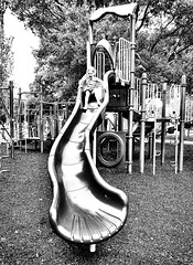 The bumpy slide (Pejasar) Tags: geometric blackandwhite bw playground oklahoma tulsa lafortunepark slide bumpy granddaughter