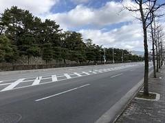 Kyoto Street and Nijo Castle Wall (zombiespammer) Tags: japan kyoto street wall city nijo castle