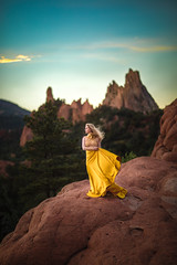 Sunset ({jessica drossin}) Tags: jessicadrossin woman colorado face portrait yellow dress sky clouds blue mountains rocks epic alone wind blowing hair profile