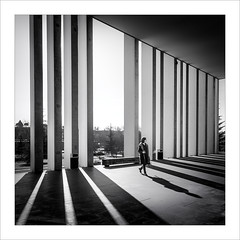 Ombres en fuga / Shadows on the run. (ximo rosell) Tags: ximorosell bn blackandwhite bw arquitectura architecture llum luz light spain squares sombra shadow people calle pamplona
