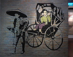 Modern Transport (Steve Taylor (Photography)) Tags: rickshaw hat iphone exit art streetart stencil black green man woman lady asia singapore