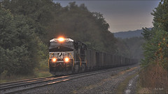 Westbound Coal (Images by A.J.) Tags: train railroad highlands pittsburgh pennsylvania norfolk rail railway dreary stormy cargo line southern rainy transportation laurel freight derry coal ge