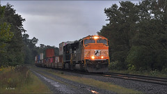 22W at Derry (Images by A.J.) Tags: railroad train highlands pittsburgh pennsylvania norfolk rail railway dreary stormy cargo line southern rainy transportation laurel freight derry heritage special emd intermodal