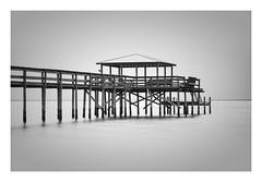 Baywatch (richieJ 11) Tags: pier longexposure highkey mobilebay fairhope alabama walkway blackandwhite