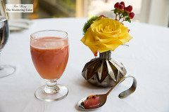 Fresh grapefruit juice and pressed watermelon amuse bouche (thewanderingeater) Tags: windsorcourthotel neworleans centralbusinessdistrict louisiana luxuryhotel luxuryboutiquehotel thegrillroom brunch jazzbrunch