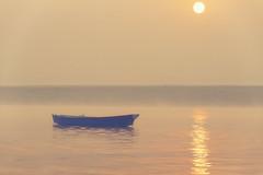 1038 Blue Boat (Hrvoje Simich - gaZZda) Tags: outdoors sky water river landscape sunrise sun reflections boat nopeople fog mist varnasi india asia ganges travel nikon nikond750 sigma sigma150500563 gazzda hrvojesimich