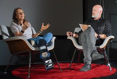 Esther Dyson, with Alex Rose of the Long Now Foundation (jurvetson) Tags: vintage ted social gathering playground palo alto reunion 2019 esther dyson alex rose ai neuroscience addiction