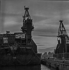Shipping Yard - Film Hasselblad (Photo Alan) Tags: vancouver canada shipping ship shipyard shippingyard boat clouds cloud film filmcamera filmscan film120 filmhasselblad hasselblad hasselblad503cw blackwhite blackandwhite monochrome bw