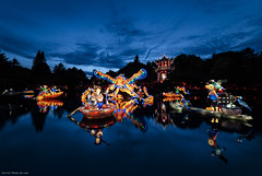 Jardin de lumière (Jean-Philippe Parisella) Tags: green jardinbotaniquedemontreal montreal botanical garden jardindelumière gardensoflight longexposure lanterns chineselanterns water sky bluehour sunset reflections bright colors colourful vivid vibrant saturation