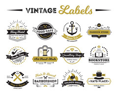 Shops And Cafe Vintage Labels (hasanbockthier) Tags: concept logo food restaurant cafe fish meal grill business ray anchor fire star thread needle hammer repair shop store bookstore hotel smoking pipe arrow jewelry crown handmade hat barbershop online barber design symbol art sign element set template label emblem badge ribbon sticker stamp insignia quality vector illustration isolated vintage