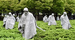 Advance Party (brucecarlson66) Tags: advance party korean war veterens memorial washington dc army marines navy air force members poncho rice paddy weapons equipment cold wind green gray grey color rifle walkie talkie recon reconnaissance alert aware dangerous platoon helmet antennae