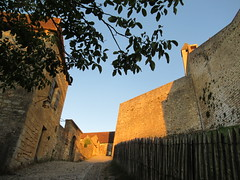 Path and wall of Château de Beynac, evening sunlight, Beynac-et-Cazenac, France (Paul McClure DC) Tags: beynacetcazenac périgord dordogne france nouvelleaquitaine sept2019 castle château historic architecture