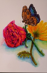 Sketch with watercolor brush markers. (entwoman) Tags: watercolor watercolour brushpen butterfly flowers floral sketch