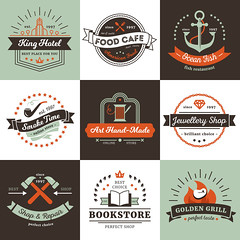 Vintage Logos Design Concept (hasanbockthier) Tags: concept logo food restaurant cafe fish fast meal grill business sea ray anchor fire star thread needle hammer repair shop store bookstore hotel smoking pipe arrow jewelry crown handmade ocean black design symbol art sign element set template label emblem badge ribbon sticker stamp insignia quality vector illustration isolated vintage